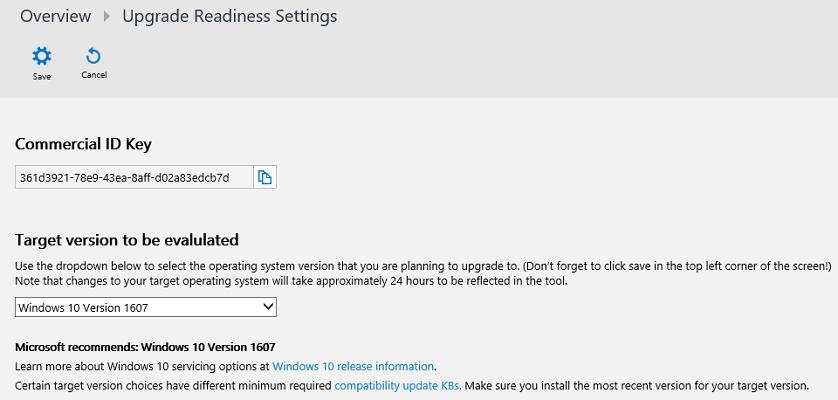「Upgrade Readinessの設定」画面